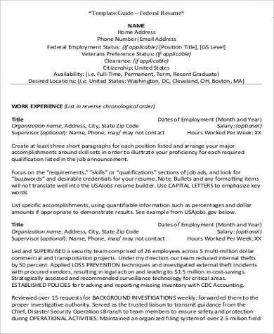 Federal Resume Example - 7+ Samples in Word, PDF