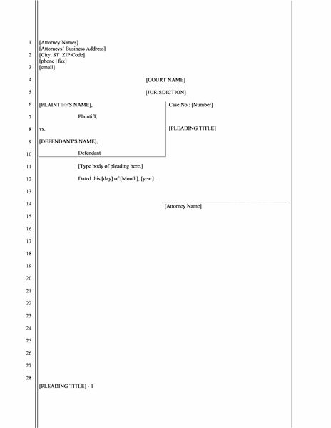 Legal pleading paper (28 lines) - Office Templates
