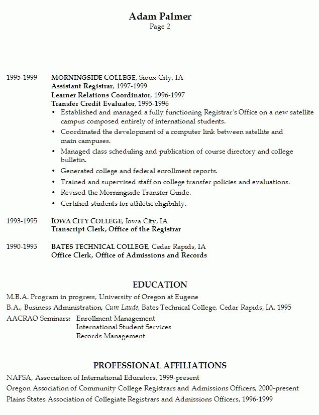 Resume Example for a University Registrar - Susan Ireland Resumes
