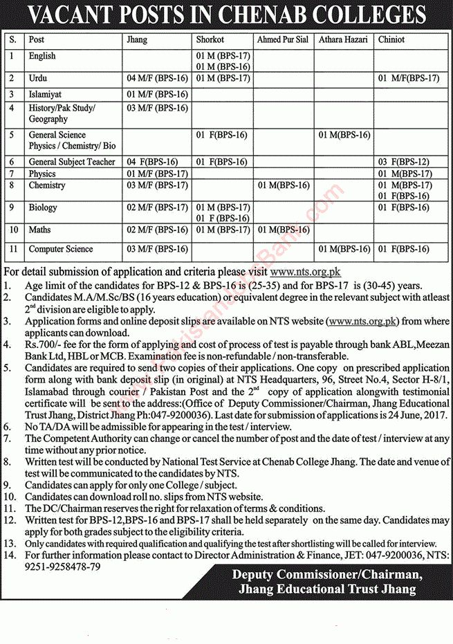 express temp agency chenab colleges NTS Application For Teaching