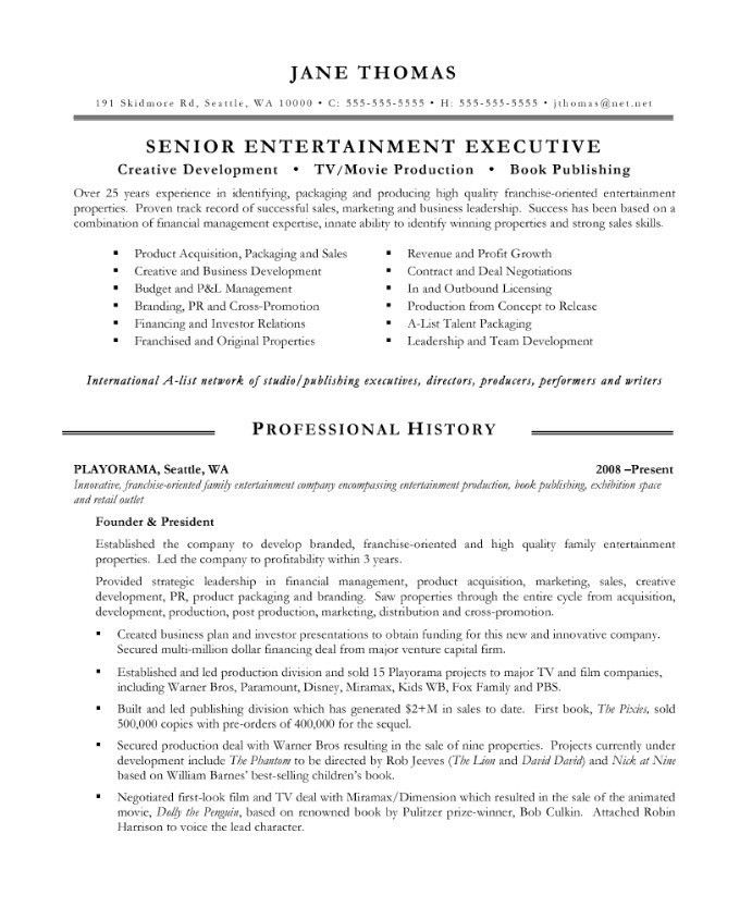 Entertainment Executive Resume Samples & Examples