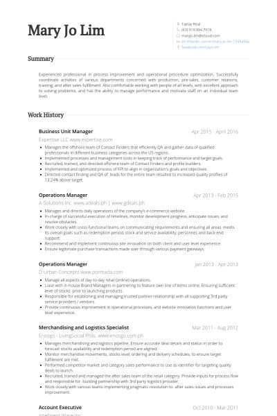 Business Unit Manager Resume samples - VisualCV resume samples ...