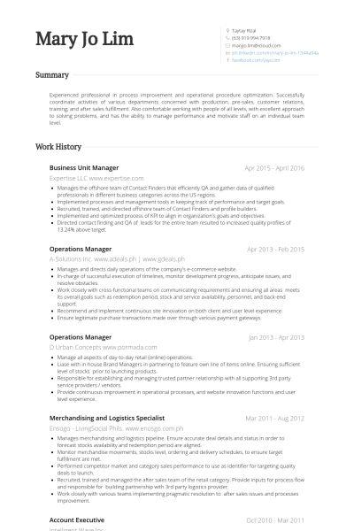 Unit Manager Resume samples - VisualCV resume samples database