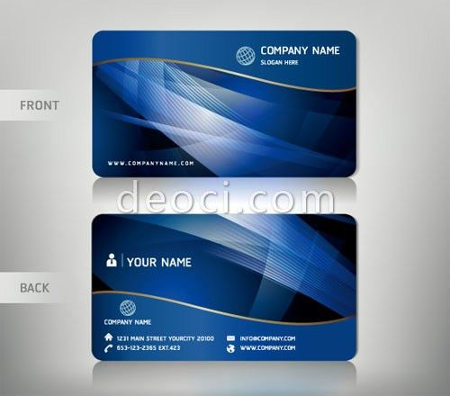 Free vector blue wave background abstract business card design ...