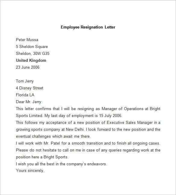 Resignation Letter : Resignation Letter Format Sample Choice ...