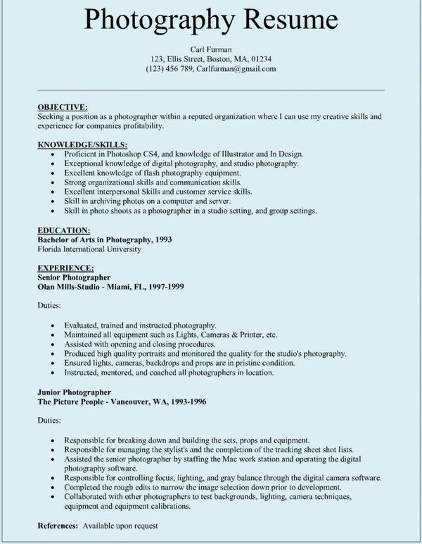 Fancy Design Ideas Photographer Resume 2 10 Photographer Resume ...