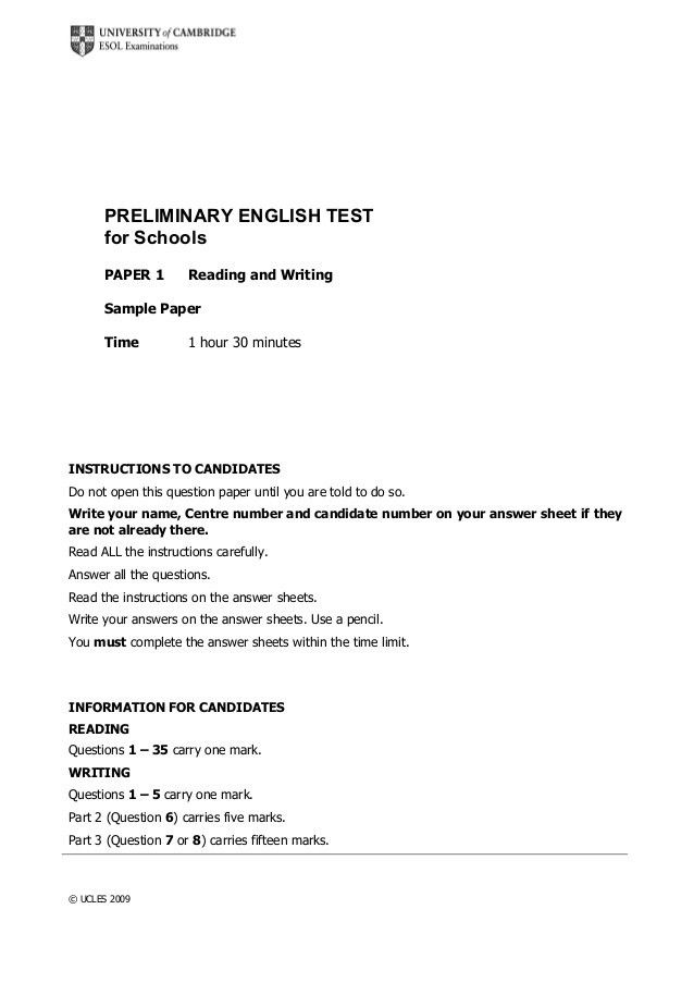 Preliminary English Test for Schools Reading and Writing Sample
