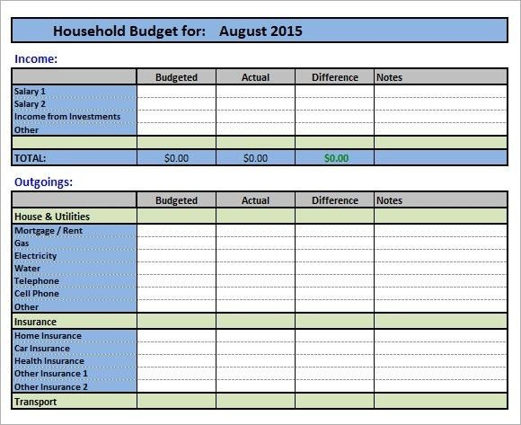 House Budget Template | Template Idea