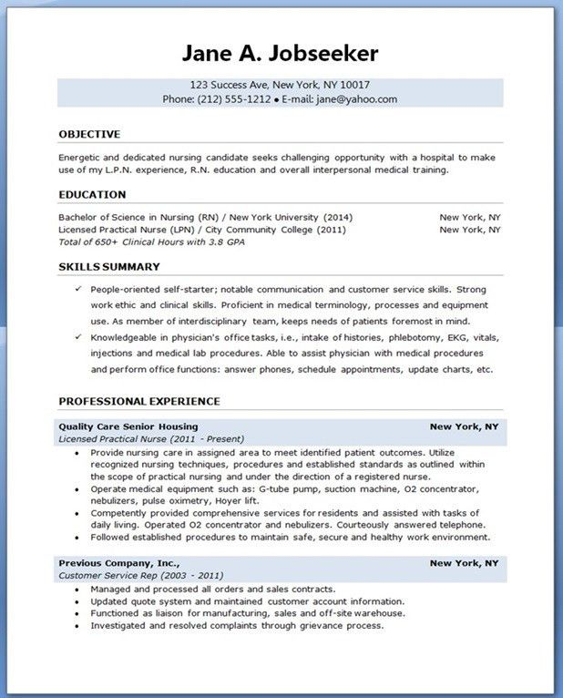 Download Resume Samples For Nursing Students ...