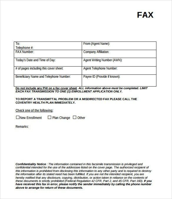Sample Fax Cover Page - 8+ Documents in PDF