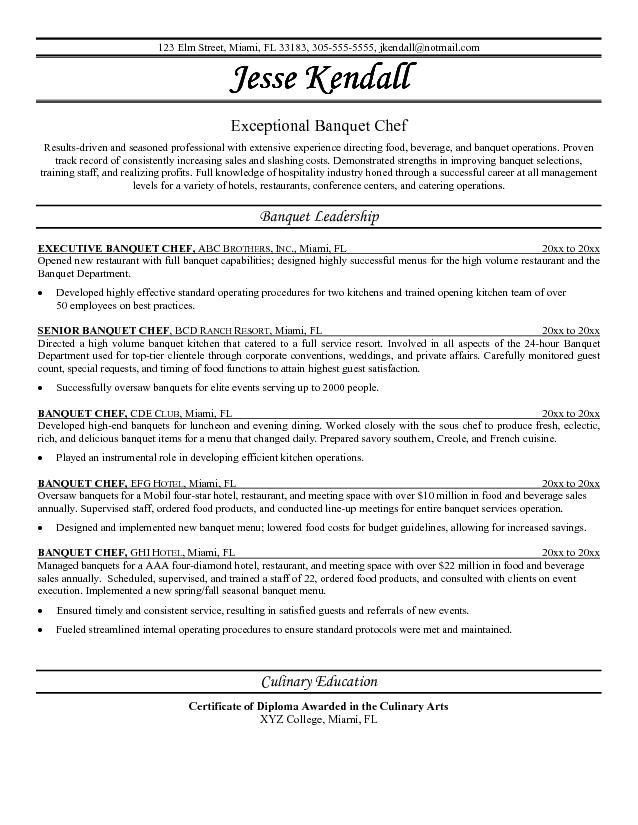 Chef Resume Sample | ilivearticles.info