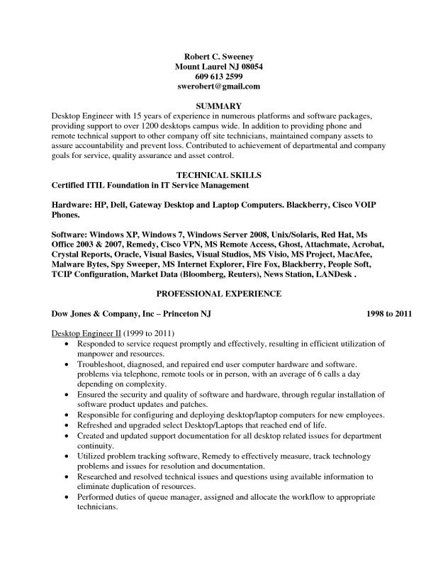 medium size of resumedesktop support engineer cv format ma resume ...