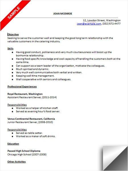 resume template objective seeking job position of catering server ...