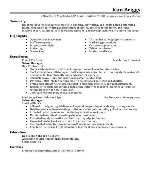 Sample Resume for Salon Manager or Medical Esthetician Job ...