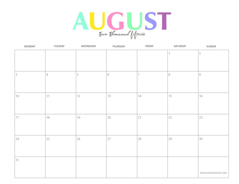 August 2015 Printable Calendar - gameshacksfree