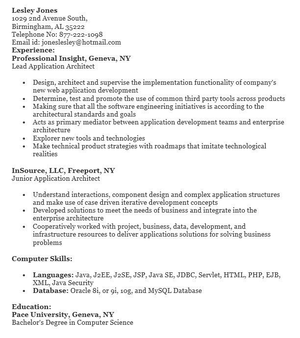 16 Free Sample Application Architect Resumes – Sample Resumes 2016