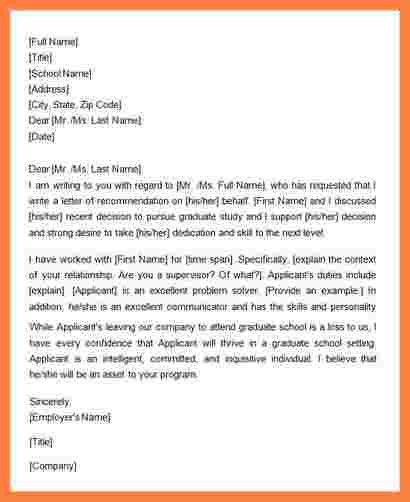 7+ recommendation letter from supervisor for grad school | Appeal ...