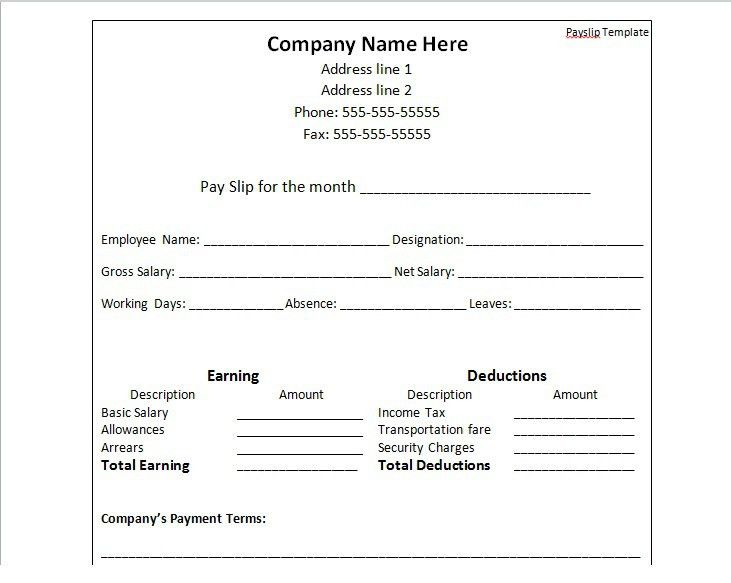Payslip Template Format Word And Excel   Excel Tmp  Payslip In Word Format