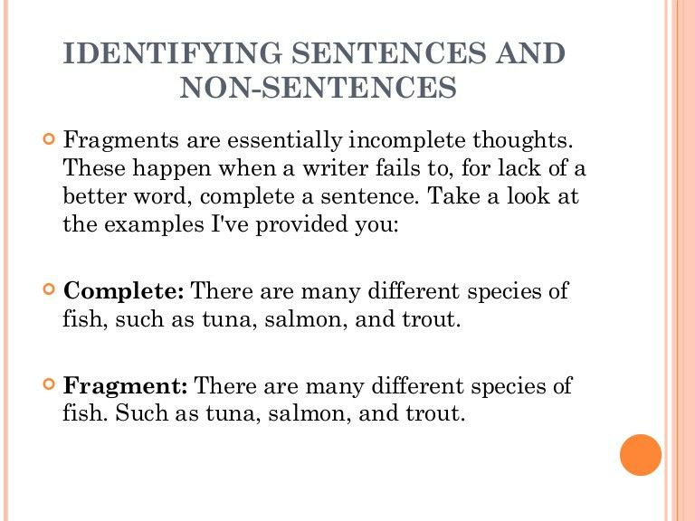 1.2 the sentence[1] identifying sentences and non sentences