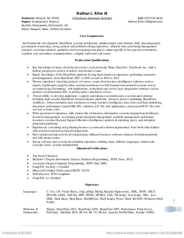 Resume - IT Solutions Developer-Architect