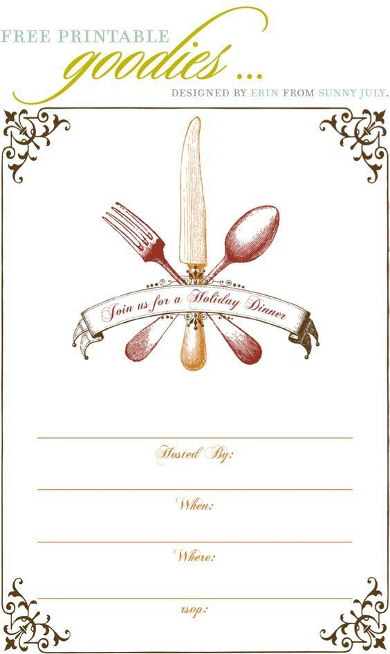 Free Thanksgiving Dinner Invitations | cimvitation