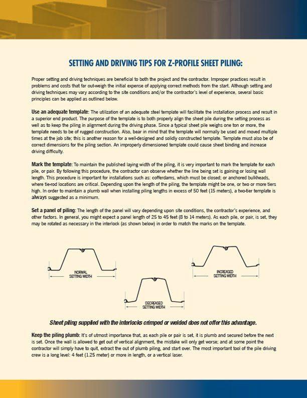 Z Profile Steel Sheet Piling | Gerdau  Profile Sheet Template