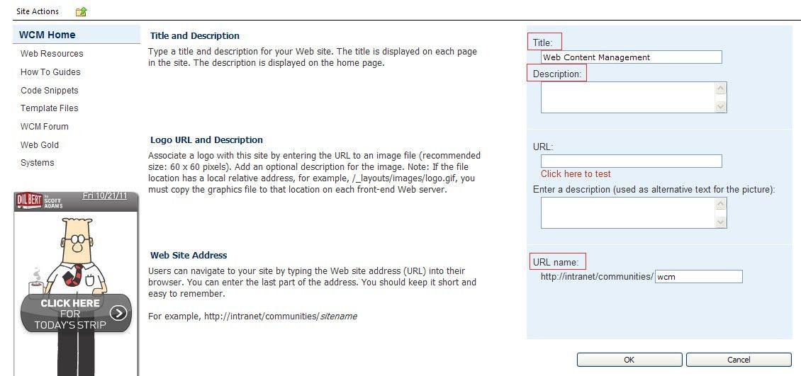 Change the Page Title, Description and Url of a Sub Site ...