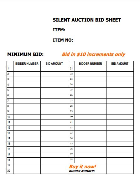 4 Silent Auction Bid Sheet Templates - Excel xlts