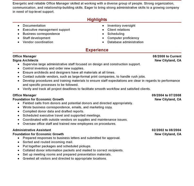 resume sample office manager office manager cv sample office