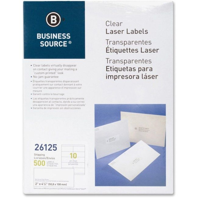Business Source 26125 Clear Shipping Labels Permanent Adhesive - 2 ...