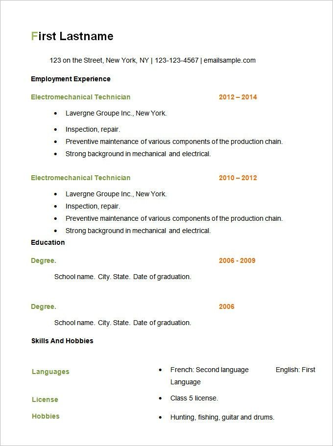open office template resume