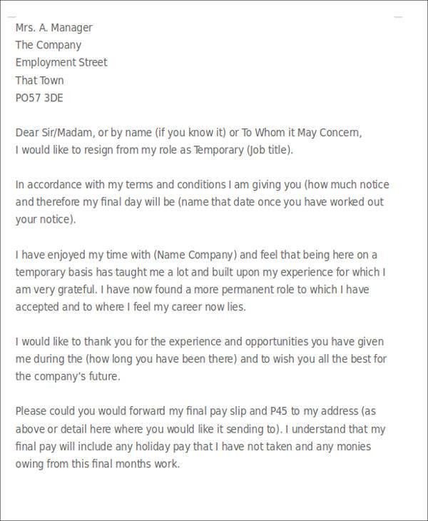 Sample Temporary Resignation Letter - 5+ Examples in PDF
