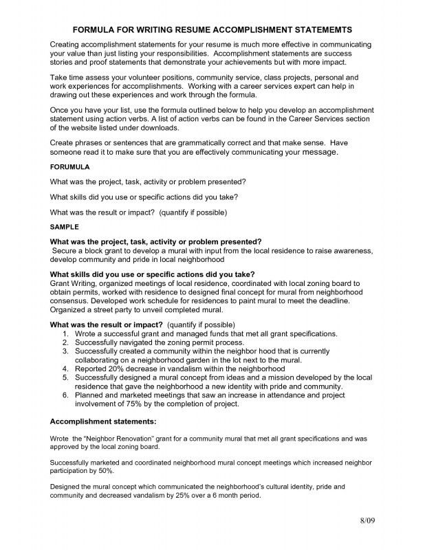 sample achievements for resume samples of achievements on resumes