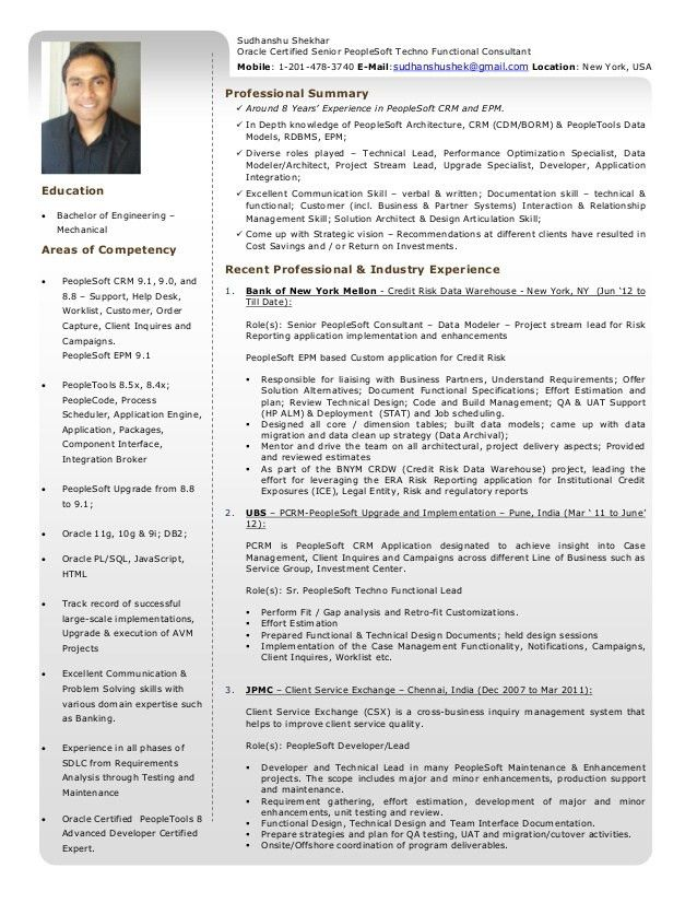 Resume - Sudhanshu Shekhar - Oracle Certified Senior PeopleSoft Techn…