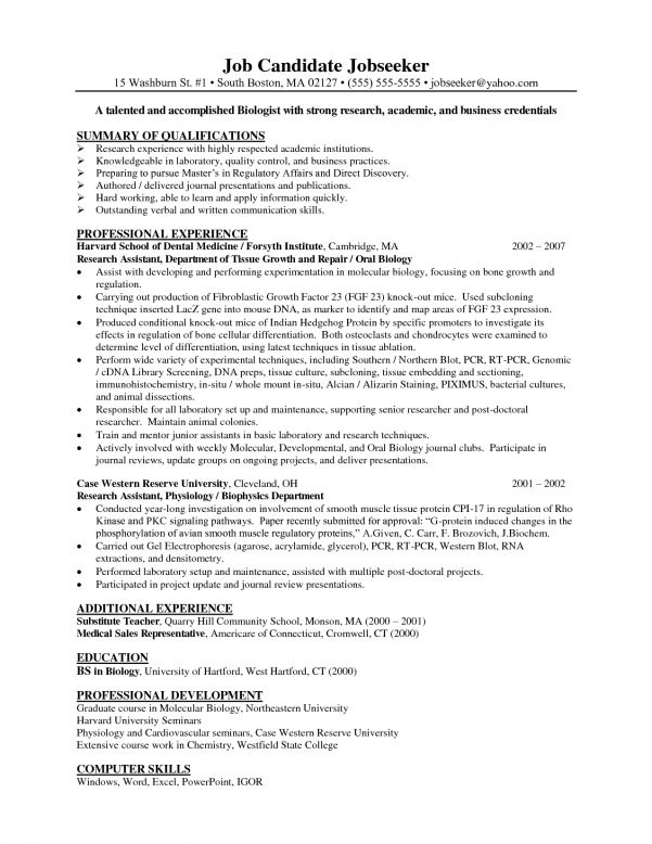 Biologist Sample Resumes Download Biology Resume