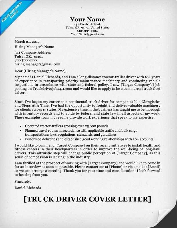 Truck Driver Cover Letter Sample | Resume Companion