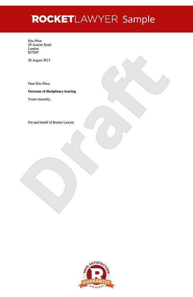 Outcome Letter - Warning Letter to Employee after Hearing Template