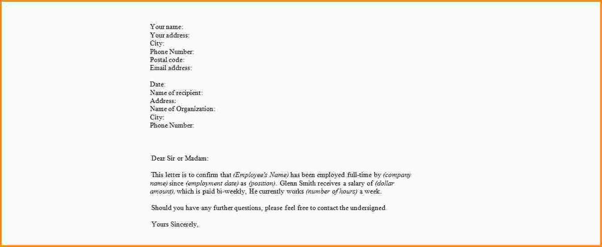 employment verification letter template. verification of ...