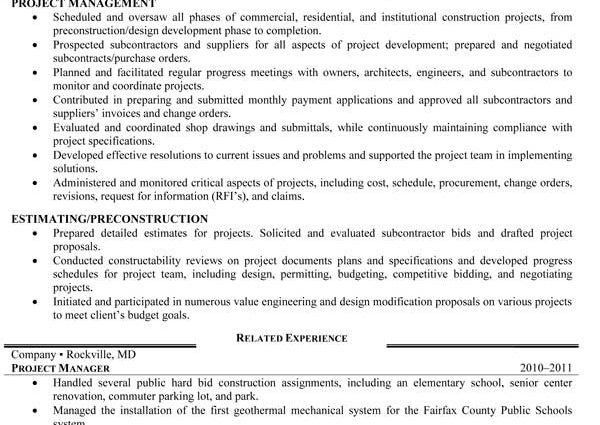 heavy equipment operator project manager resume functional skills ...
