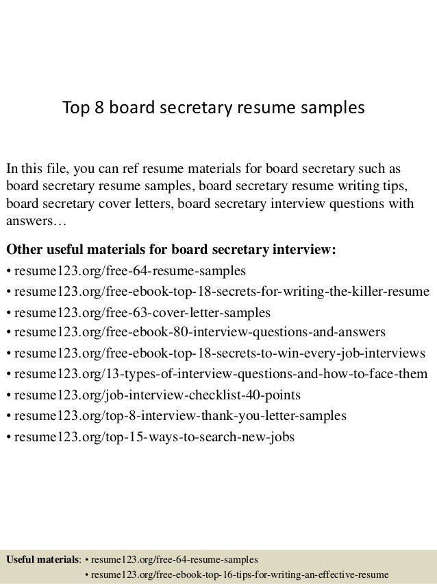 top 8 board secretary resume samples in this file you can ref ...