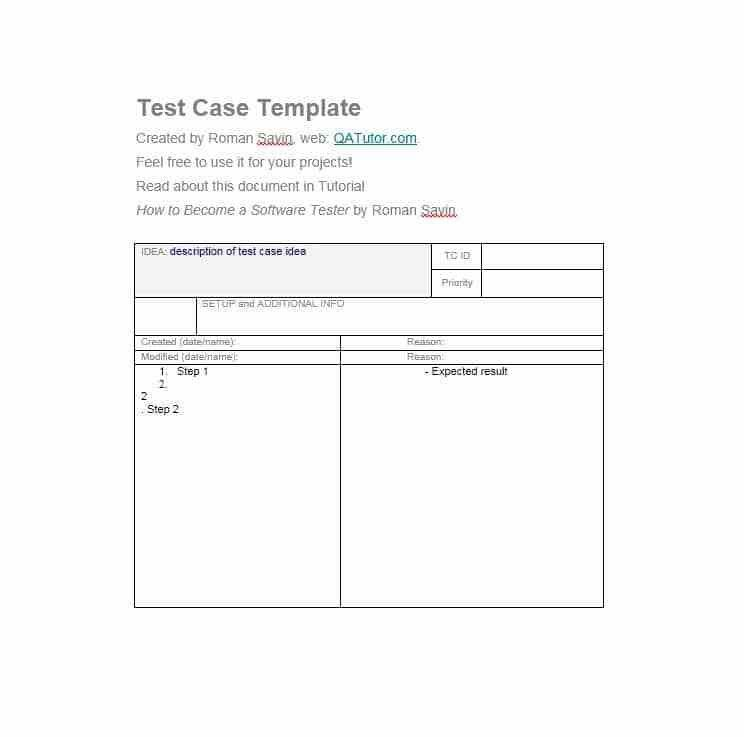 Software Test Case Template. creating and managing test ...