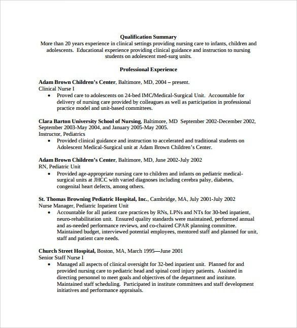 Sample Nurse Resume - 10+ Download Free Documents in Word, PDF