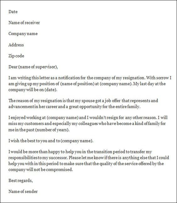Resignation Letter Format: Be More Resignation Letter Template ...