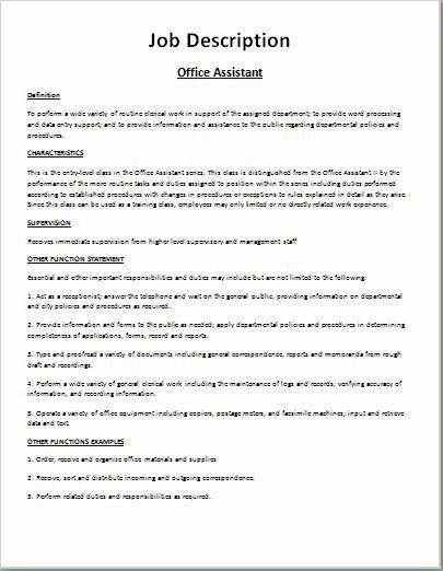 Comprehensive Job Description Template   Word & Excel Templates