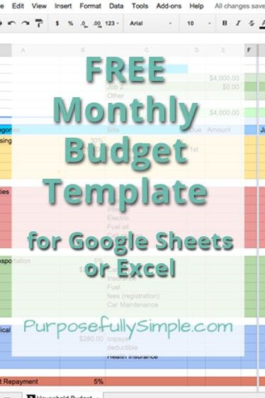 Free Monthly Budget Template | Monthly budget spreadsheet, Monthly ...