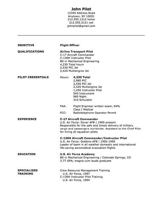 Military Flight Officer Resume Sample - http://resumesdesign.com ...