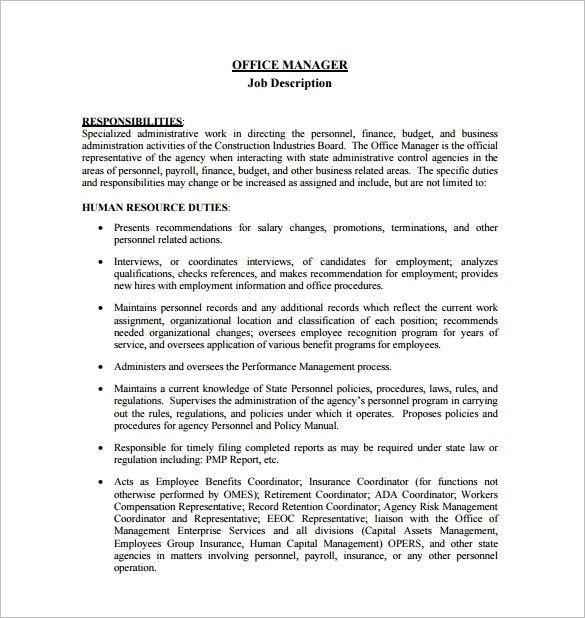 manager duties resume sample office manager resume sample monster ...