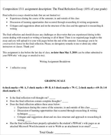 Sample Reflective Essay - 10+ Examples in Word, PDF
