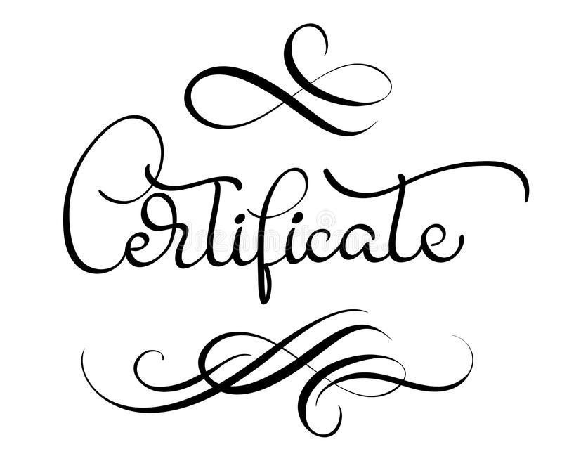 Certificate Word With Flourish On White Background. Calligraphy ...