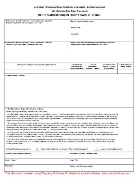 U.S. -Colombia Certificate of Origin